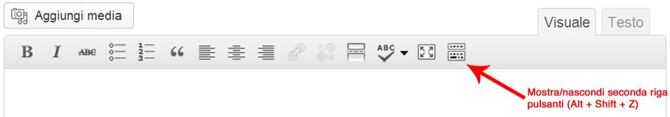 Visualizzare la seconda riga dei pulsanti nella barra degli strumenti dell'editor