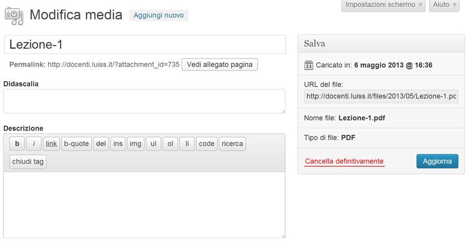 L'interfaccia per l'inserimento e la modifica di contenuti multimediali