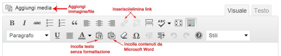Editor WYSIWYG: alcune funzionalità della barra degli strumenti