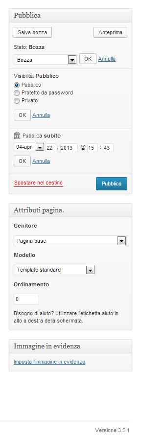 Opzioni di pubblicazione, tag, categorie e immagine in evidenza