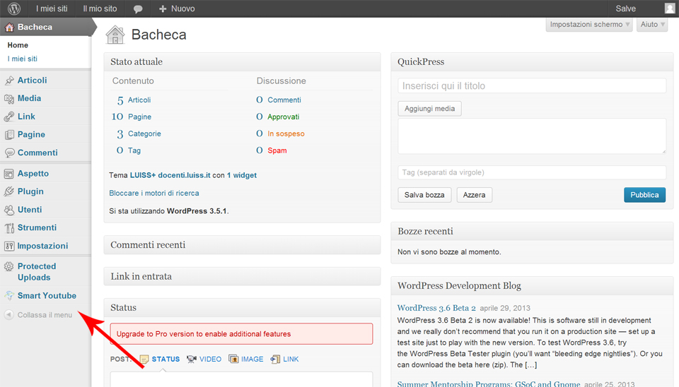 La bacheca del CMS WordPress